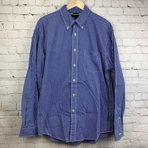 Tommy Hilfiger Button Down Dress Shirt Large Blue